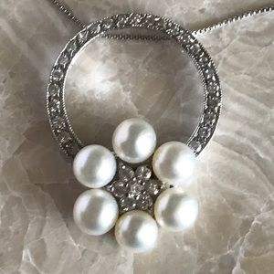 9.25 silver necklace real mother Perl's